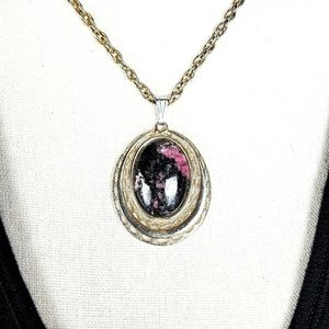 Rhodonite Pendant Black and Pink Necklace